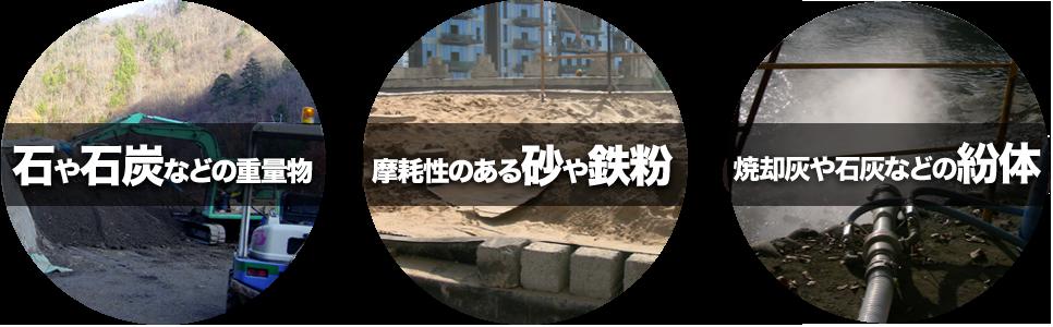 石や石炭などの重量物、摩耗性のある砂や鉄粉、粘着性のある湿った土、